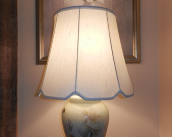 Beautiful Large White Vintage Porcelain Temple Jar Lamp with Shade