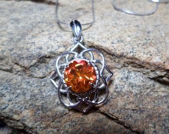 Poppy Orange Topaz Necklace, Orange Necklace, Fine Jewelry, Orange Gemstone Necklace, Sterling Silver Necklace, Orange Stone Necklace