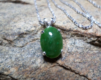Large Nephrite Green Jade Necklace, Fine Jewelry, Green Stone Necklace, Gemstone Necklace, Jade Jewelry, Sterling Silver Necklace