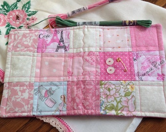 Quilted Patchwork Sewing Needlebook, Needle Case, Sewing Book, Sewing Supply Book