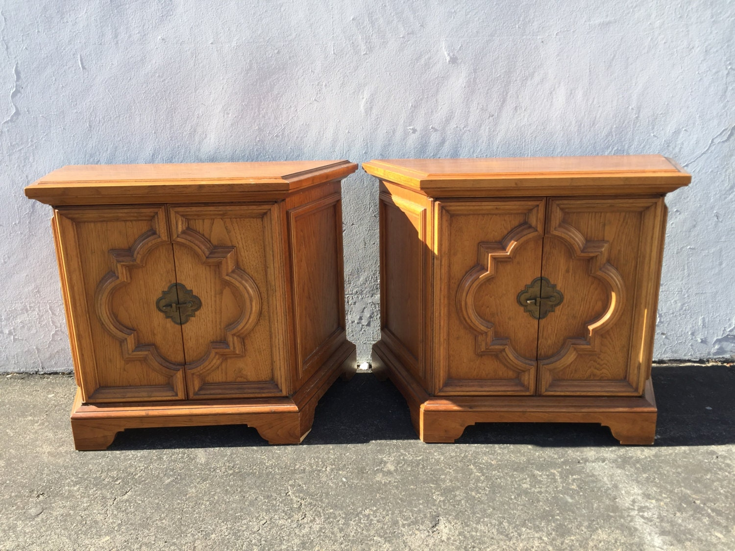 pair of nightstands bedside tables heritage wood accent