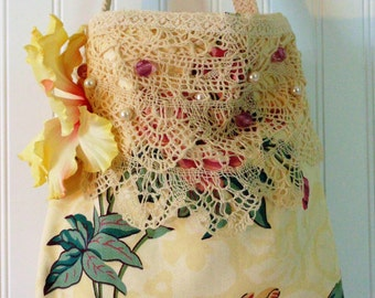 Vintage Handmade Bag Tote Purse Vintage Fabric Lace Flower