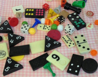 Vintage Game Pieces Mixed Media Altered Art Supply