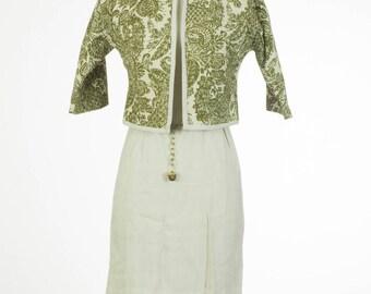 1950's Novelette // Linen Wiggle Dress // xxs // Petite