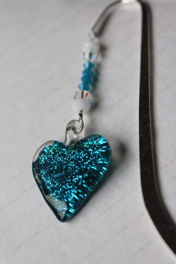 Heart Bookmark, Back to School Blue Heart Bookmarker, Gift for Her, Bookworm Gift Idea, Teen Gift, Tween Present, Book Club, Heart Decor