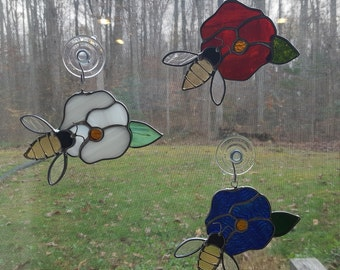 Stained Glass Bee on Pansy - Red, White or Blue