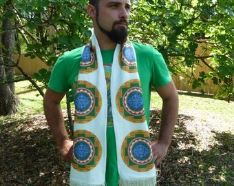 Sri Yantra Sacred Geometry Scarf - 100% Organic Cotton