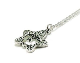 Star Necklace Leaf Sterling Silver Plated Chain