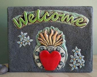 Sacred Heart Milagro Welcome Sign Mosaic Garden Stepping Stone Ceramic Tile Paver