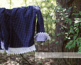 2XL Upcycled Flannel with lace~ X X-LARGE