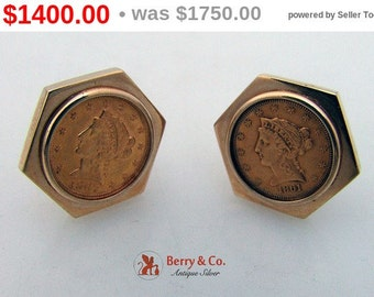 SaLe! sALe! Two and a Half Dollar Gold Coin Cufflinks