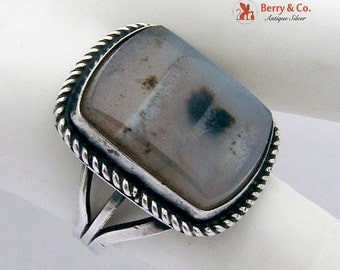 SaLe! sALe! Hand Made Picture Agate Ring Sterling Silver 1980