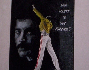 queen, freddie mercury, hand painted canvas painting 20x16 ins.ready to hang