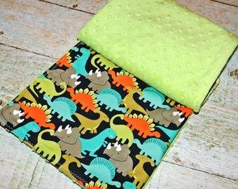 Baby Boy Minky Blanket - Minky Blanket - Minky Baby Blanket - Michael Miller Dinosaurs - Stroller Blanket - Minky Baby Quilt - Ready to Ship