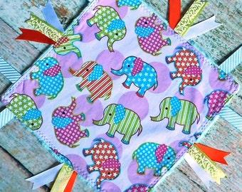 Baby Sensory Blanket – Ribbon Blanket – Ribbon Blankie – Minky Sensory Blanket - Sensory Blanket with Elephants