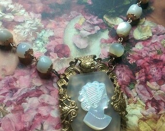 Great Gatsby,necklace with antique rosary MOP mother of pearl beads and an antique MOP cameo on Lalique glass