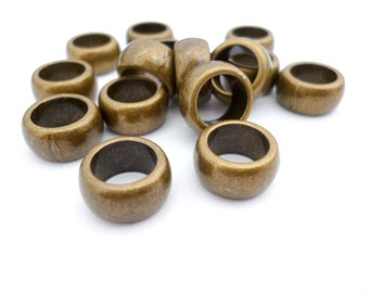 11x6mm Hole 8mm Metal Beads_CP00857902_Large Bronze Beads_Large Hole Brass Beads_Pack  25 pcs
