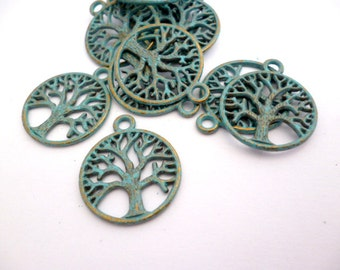 Brass Patina TREE Charm Pendant_S00150284_Patina Charms_Round Tree_of 20 mm
