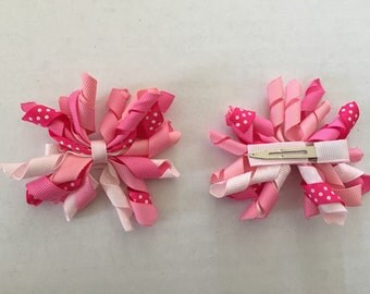 Set of Pink and White Korker Hair Clips 3""