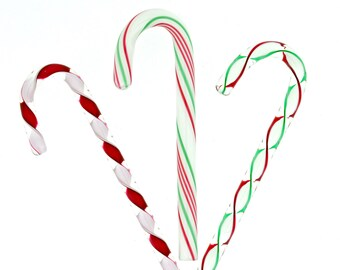 Handblown Artglass Christmas Ribbon Mix Glass Candy Canes
