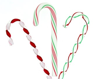 Handblown Artglass Christmas Ribbon Mix Glass Candy Canes