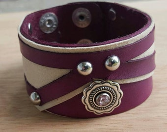 Leather Cuff/Bracelet with Suede Inset: Purple & Tan