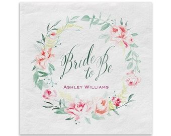 Bridal Shower Beverage Napkins | Watercolor Flowers Form A Bridal Wreath On These Bride To Be Beverage Napkins.