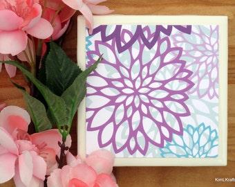Table Coasters - Flower Coasters - Coaster - Tile Coaster - Coasters for Drinks - Coasters Tile - Floral Coasters - Handmade Coasters