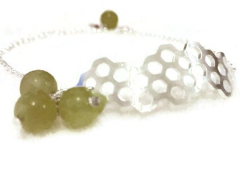 Honeycomb with Nephrite Honey Drops  Bracelet