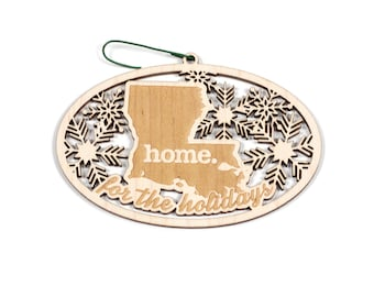 Engraved Louisiana Wood Christmas Ornament