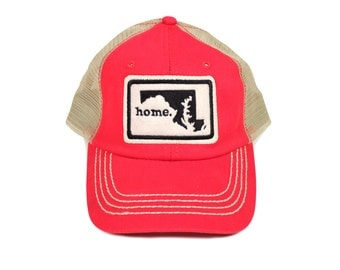 All 50 States Available: Home State Apparel Trucker Cap - Red/Black Stitching
