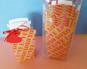 Small Take Out Containers Valentines Day Love, Hugs, Kisses Boxes for Party Favors, Treats, Weddings, Showers, Valentine Goodies Classmates