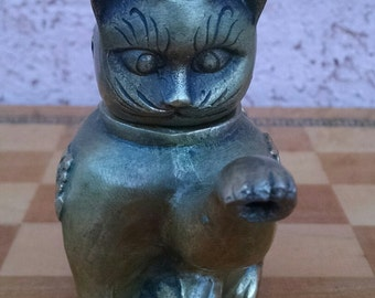 Cute Vintage Cast Brass Asian Cat Tea Kettle - Asian Decor