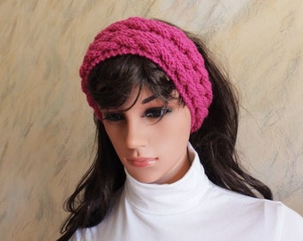 Bright Pink Hand Knitted Head Ear Warmer Headband, Hand Knit Head Accessory