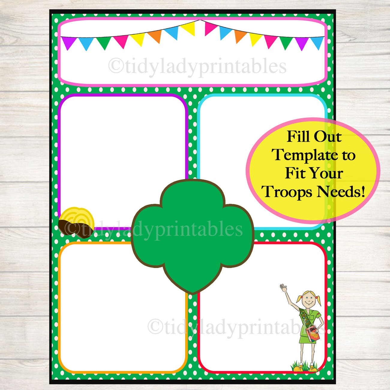 girl scouts newsletter template instant by tidyladyprintables. Black Bedroom Furniture Sets. Home Design Ideas