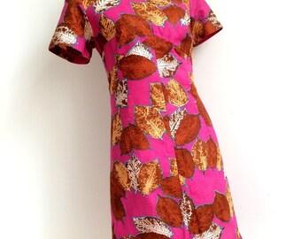 1960s - Stunning Mao Collar Pink Cotton Dress