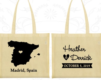 Spain Tote Bags, Spain Wedding, Custom Cotton Canvas Tote, Destination Wedding Bags, Wedding Party Totes, Madrid Tote Bags (192)