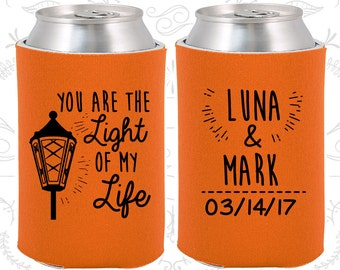 Orange Wedding, Can Coolers, Orange Wedding Favors, Orange Wedding Gift, Orange Party Favors (261)