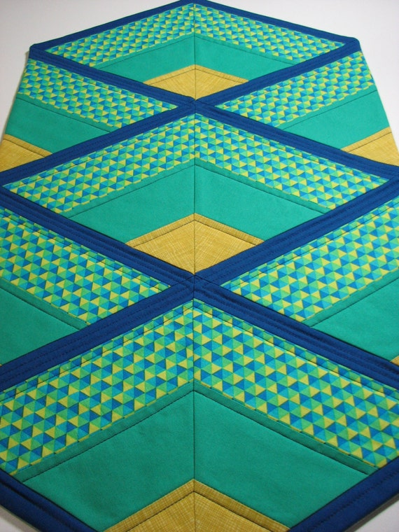 Quilted Table Runner Modern Table Runner Blue And Green