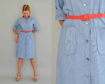 70s Day Dress Vintage Seventies Blue and Red Belted Secretary Dress Contrast Topstitching Short Sleeves Stand Up Collar Shirt Dress Size 12