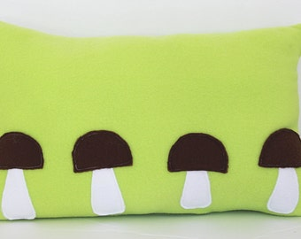 Lumbar throw pillow - Green- Lumbar pillow - Brown Mushroom