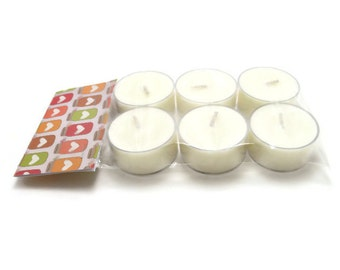 Scented Soy Tea Lights - Package of 6 - Vanilla, Wedding, Housewarming, Birthday, Shower Favor, Gift Under 10