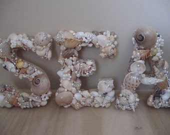 Seashell Letter,Beach Decor Seashell Letter, Beach Sign, Coastal Home decor,Custom Shell Letter