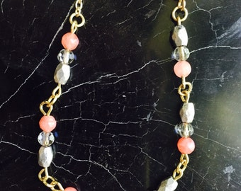 Gemstone and metal-beaded necklace