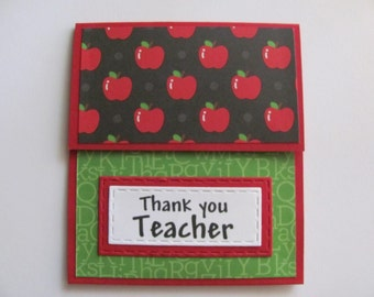 Teacher Gift Card Holder, Teacher Thank You Gift, Teacher Appreciation, Year End Teacher Gift, Teacher Gift, Teacher Thank You Card, Apples
