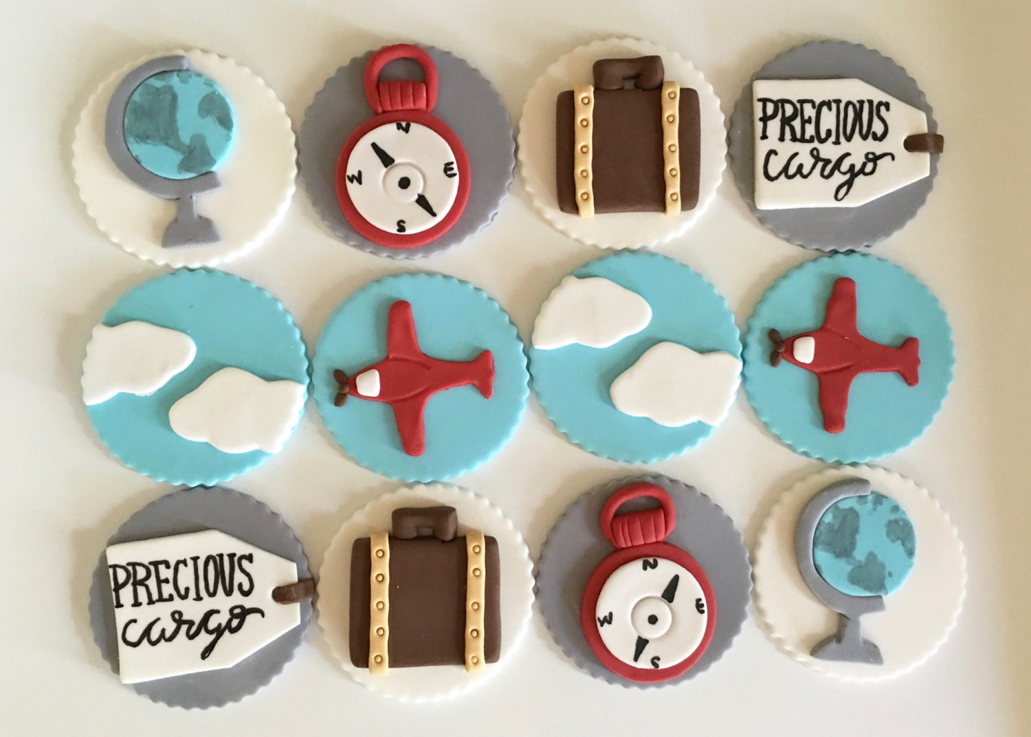 Baby Shower Ideas Cupcake Themed : Travel Theme Baby Shower Cupcake Toppers Fondant