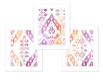 Purple Orange Ikat Print • Colorful Art Set of 3 Prints
