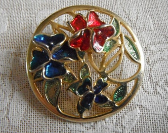 Red, blue and green enamelled flower circular brooch - set in gold metal