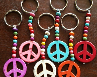 Hematite Peace Sign Key Ring, Purse Dangle, Multi Colored Peace Sign Key Rings