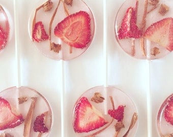 3 Natural Strawberry Flavored Lollipops With Organic Strawberry Slices And Rhubarb Ribbons